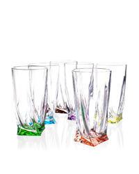 Bohemia Crystal Barevné sklenice na nealko Quadro 7K8/99999/9/72T76/182/350ml (set po 6ks)