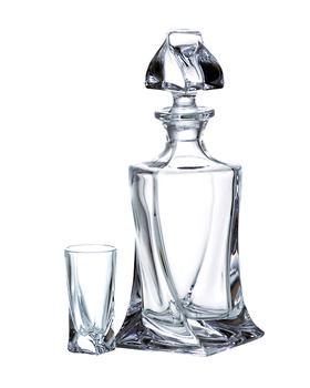 Bohemia Crystal Set na pálenku Quadro 99999/9/99A44/457 (set 1 karafa + 6 sklenic)