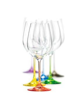 Bohemia Crystal Barevné sklenice na víno Rainbow 40729/D4661/350ml (set po 6ks)