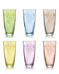 Bohemia Crystal Colored soft drink glasses with fine cut 350ml (set of 6)