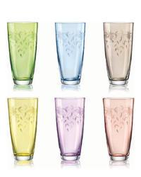 Bohemia Crystal Barevné sklenice na nealko nápoje Floral 350ml (set po 6ks)