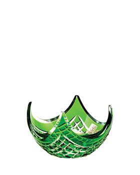 Bohemia Crystal Broušená mísa Quadrus 60854/0/78C85/140mm- zelená