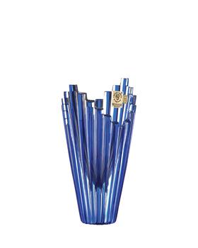 Bohemia Crystal Broušená váza Mikádo  88849/0/76F94/155mm - modrá