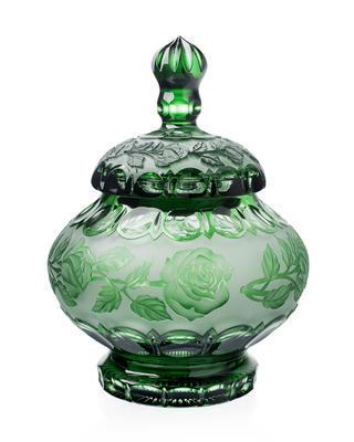 Bohemia Crystal Dóza s víkem růže 180mm