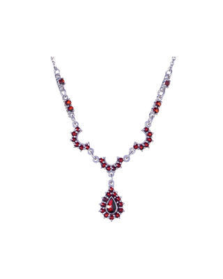 Silver necklace with Czech garnet - 1