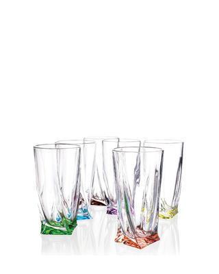 Bohemia Crystal Barevné sklenice na nealko Quadro 350ml (set po 6ks)
