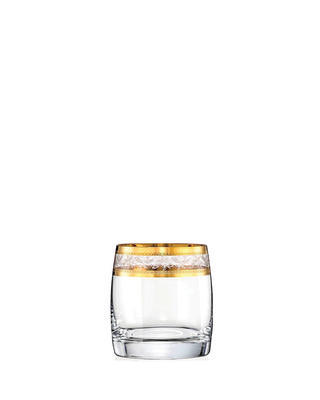 Bohemia Crystal Ideal Whiskey Tumblers with Gold Decor 290ml (set of 6 pcs)