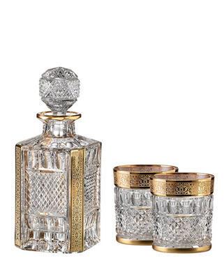 Bohemia Crystal handgeschliffener Whiskyset Felicie Romantic (1 Karaffe + 2 Whiskygläser)