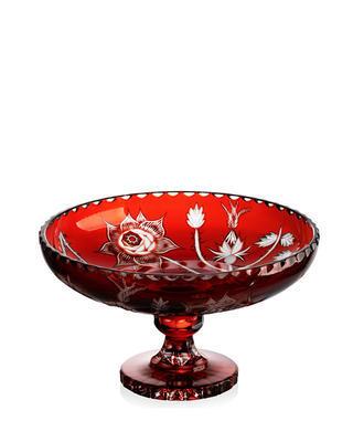 Bohemia Crystal ručne brúsená misa na nohe - divoká ruža červená 355mm - 1