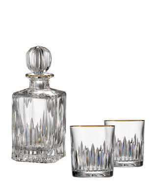 Bohemia Crystal hand cut whiskey set Prisma Line Gold (1 carafe +2 glasses)