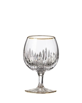 Bohemia Crystal hand cut brandy glass Prisma Line Gold 220ml (set of 2pcs)