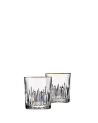 Bohemia Crystal hand cut whiskey glass Prisma Line Gold 150ml (set of 2pcs)