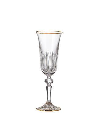 Bohemia Crystal hand cut champagne glass Daisy Line Gold 150ml (set of 2pcs)