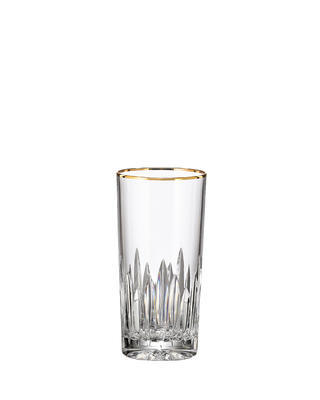 Bohemia Crystal hand cut water and soft-drinks glass Prisma Line Gold 350ml (set of 2pcs)