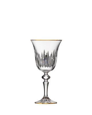 Bohemia Crystal hand cut white wine glass Prisma Line Gold 170ml (set of 2pcs)