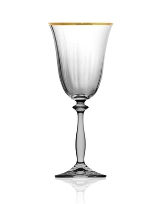 Bohemia Crystal Weingläser Angela Optic Gold Line 250 ml (Set mit 6 Stück) - 1