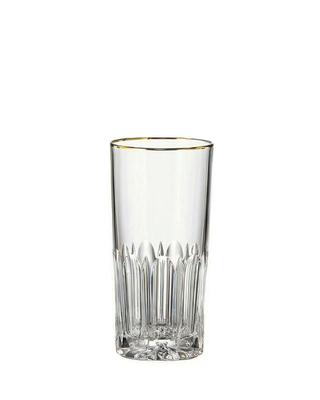 Bohemia Crystal hand cut glass for soft drink 350 ml Daisy Line Gold (set after 2pc)