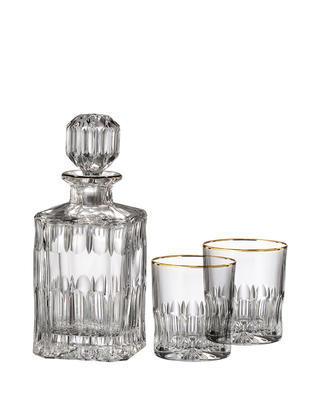 Bohemia Crystal handgeschliffenes Whiskyset Daisy Line Gold (1 Karaffe + 2 Whiskygläser)