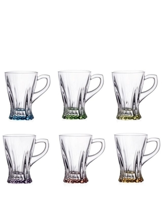 Bohemia Crystal set of tea cups with colored bottom 150ml (set of 6pcs)