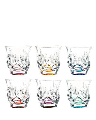 Bohemia Crystal Cascade Colored Whiskey Tumblers 300ml (set of 6 pcs)
