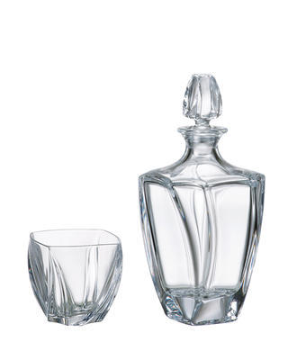 Bohemia Crystal Neptune Whiskey Set (1 decanter + 6 whiskey tumblers)