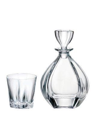 Bohemia Crystal Laguna Whiskey Set (1 decanter + 6 whiskey tumblers)