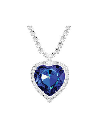 Bohemia Crystal Štrasový náhrdelník srdce s českým krištáľom Preciosa - modrý  2025 46 - 1