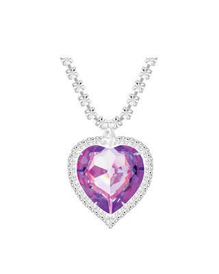 Bohemia Crystal Štrasový náhrdelník  srdce s českým křišťálem Preciosa - violet