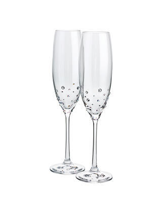 Bohemia Crystal Set of Champagne Glasses Decorated with Czech Crystal Preciosa (set of 2 pcs)