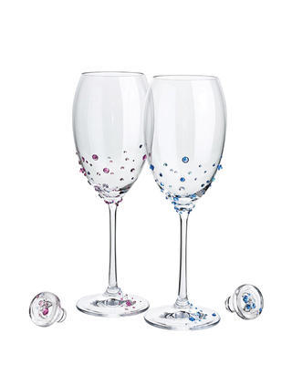 Bohemia Crystal The Magic of The Moment - Wine Set Decorated with Czech Crystal Preciosa (set of 2 pcs)