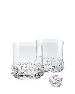 Bohemia Crystal Ice Refreshment Whiskey Tumblers Decorated with Czech Crystal Preciosa (set of  2 pcs)