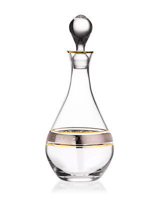 Bohemia Crystal Whiskey or Wine Decanter with Gold/Platinum Decor 43249/080l - 1