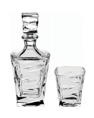Bohemia Crystal Whisky set ZIg Zag 99999/59418/688 (set 1 karafa+ 6 sklenic)