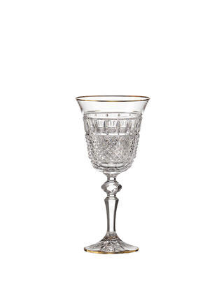 Bohemia Crystal hand cut white wine glass Felicie Line Gold (set of 2)