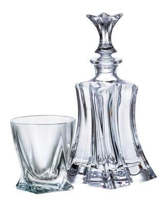 Bohemia Crystal Whisky set Florale 99999/9/99E50/820  (set 1 karafa + 6 pohárov) - 1