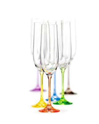 Bohemia Crystal Farbige Champagnergläser Rainbow 40729/D4641/190 ml (Set mit 6 Stück) - 1