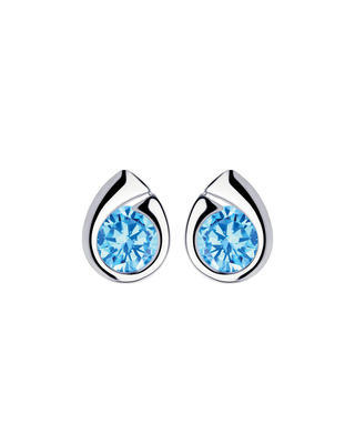 Bohemia Crystal silberne Ohrringe Wispy mit kubischem Zirkonium Preciosa, blau
