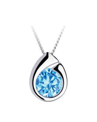 Bohemia Crystal strieborný prívesok Wispy s kubickou zirkonií Preciosa, modrý 5105 67