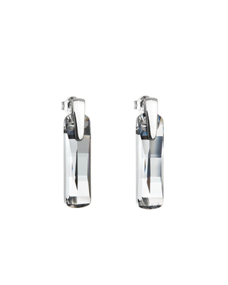 Bohemia Crystal Strip Silver Shining Earrings with Czech Crystal Preciosa 6724 00.