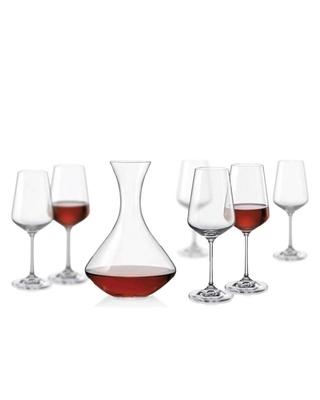 Bohemia Crystal Set na víno Sandra (set 1 karafa + 6 sklenic)