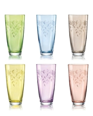Bohemia Crystal Floral Colored and Fine Cut HB Tumbler 350ml (set of 6 pcs)