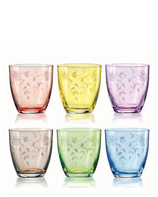 Bohemia Crystal Floral Colored and Fine Cut Whiskey Tumbler 300ml (set of 6 pcs)
