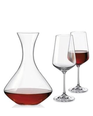 Bohemia Crystal Set na víno Sandra (set 1 karafa + 2 sklenice)