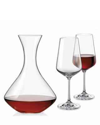Bohemia Crystal Wine Set Sandra (set 1 carafe + 2 glasses)