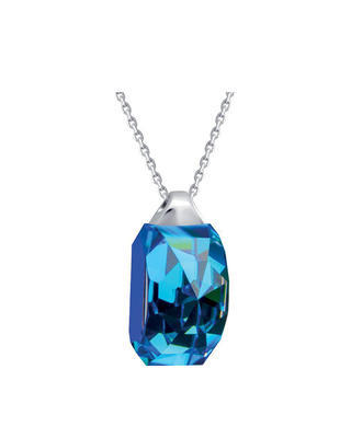 Bohemia Crystal Miltonia Silver Pendant with Preciosa Crystal - Blue 6248 46L - 1