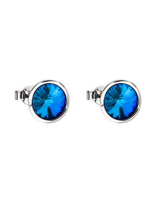 Bohemia Crystal Uniques Earrings Made of Surgical Steel with Preciosa Crystal - Blue 7095 46
