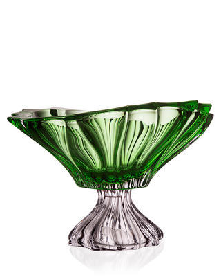 Bohemia Crystal Plantica footed bowl 330 mm - green