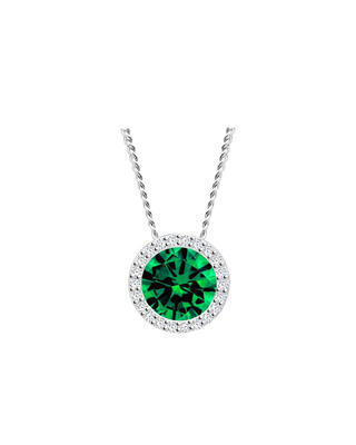 Bohemia Crystal Lynx Silver Pendant with Cubic Zirconia Preciosa, 5268 66 - Green