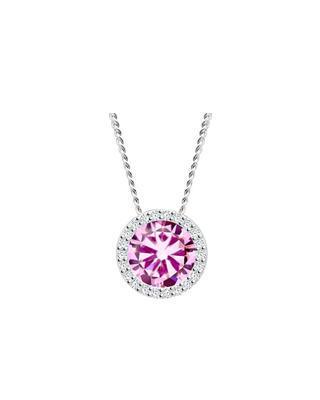 Silver pendant Lynx with cubic zirconia Preciosa, pink 5268 69