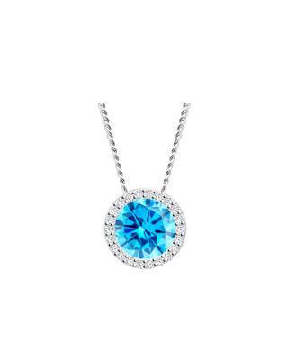 Bohemia Crystal Stříbrný přívěsek Lynx s kubickou zirkonií Preciosa modrý 5268 67
